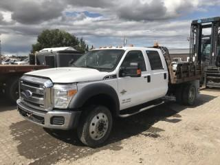 2011 Ford F550 Deck Truck c/w Diesel, 4x4, A/C Crew Cab, 7'x8' Deck, S/N: 1FD0W5HTXBEB51097. *Requires Repair*