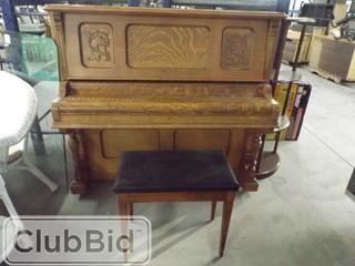 """Canadian Made Wooden Piano w/ Bench 62"""" x 26"""" x 54"""""""