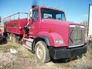 Unit 393: 1991 Freightliner Pipe/Tank Truck w/ Crane. VIN 1FVYZSYB5ML443506 **LOCATED IN CARBON**