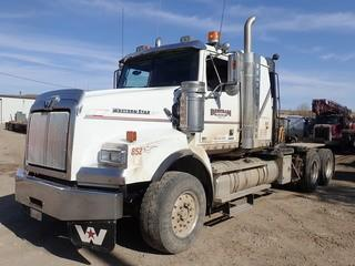 Unit 852: 2013 Western Star 4900SB Single Steer Tandem Axle Winch Truck. Showing 357,646kms. VIN 5KJJALDR6DPFA5857 **LOCATED IN CARBON**