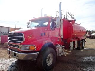 Unit 862: 2006 Sterling Tandem Axle Water Truck C/w Mercedes-Benz 450-Hp Eaton Fuller 18spd Transmission, 20,000lb Frt, A/R 46,000lb Rears, 2006 Advance 20,000L Tank, Spec 406, 4in Hyd Driven Production Pump. Showing 171,901kms. VIN 2FZHAZCV86AV32544 **LOCATED IN CARBON**
