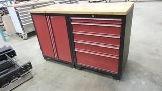 Tool Box,  56 inch wide x 25 inch deep x 37 inch high, 5 drawers w/ cabinet