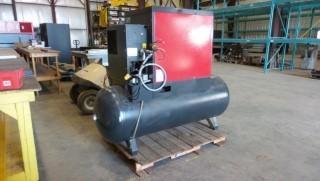 Chicago Pneumatic Air Compressor, QRS 10,  208 / 230 / 460 VAC 3 phase, c/w air dryer  (115V AC) Year 2014