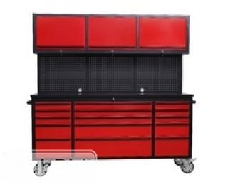 """72"""" Red Powder Coated Tool Chest w/ 15 Drawers & 3 Cabinets"""