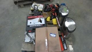 Pallet of Misc. Parts and Equipment, Includes Led Tail Light for a Ford, Air Filter Blaster, Air Hoses, Straps and Fat Max Heat Gun *Located RE11*