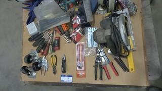 Quantity of Hand Tools, 7 1/4 Inch Circular Saw, Tool Box ( Includes Contents), Clamps, Wheels and More *Located RE11*