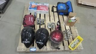 Quantity of Safety Gear, (3) Helmets) First Aid Kits, Hooks Clamps and More *Located RE11*