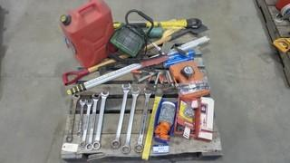 Quantity Of Hand Tools, Gas Can, Work Light, Clamps, Measure Stick, Ice Pick And More *Located RE12*