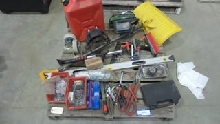 Quantity of Hand Tools, Screws Shovel, Level, Gas Can and More *Located RE12*