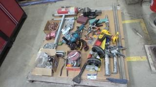 Quantity of Hand Tools, Wheels,  5 Inch Makita Grinder, Dewalt 1/2 Inch Impact Drive 36V (no battery), Fire Extinguisher, 4 Inch Westward Vice, Rivet Gun (Air) Clamps and More *Located RE12*