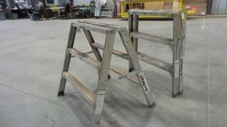 (1) Pair of Aluminum 3 Foot Work Stand / Ladders *Located RE11*