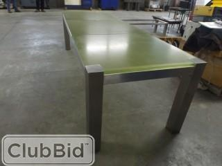 Dining Room Table w/ Stainless Steel Frame & Acrylic Top 9' x 3' x 2.5'
