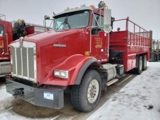 UNIT 665: 2007 Kenworth Model T800 T/A Pipe Truck w/ Crane. CVIP 11/2019. VIN 2NKDLU0X47M930380