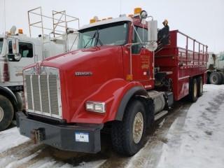 UNIT 753: 2009 Kenworth T800 T/A Pipe Truck w/ Crane. CVIP 12/2019. VIN 1NKDL00X59R942218