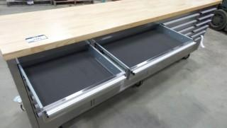 """New and Unused 96"""" 24 Drawer Stainless Steel Tool Chest HTC96204W"""