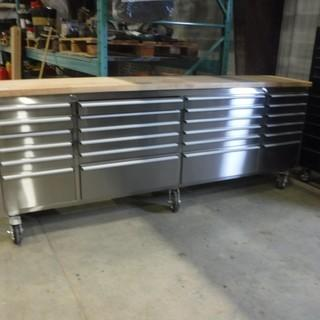 """New and Unused 96"""" 24 Drawer Stainless Steel Tool Chest – Damaged HTC9624W"""