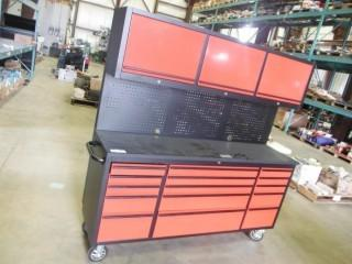 """New and Unused 72"""" Red Powder Coated Tool Chest w/ 15 Drawers & 3 Cabinets & Pegboard HTC7218RC"""