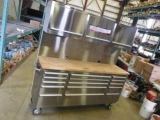 """New and Unused 72"""" Stainless Steel tool Chest w/ 15 Drawers & 3 Overhead Cabinets HTC7218W"""