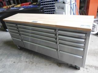 """New and Unused 72"""" 15 Drawers Stainless Steel Tool Chest HTC7215W"""