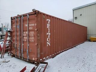 40ft Storage Container C/w Wood Shelving *Note: Buyer Responsible For Load Out*
