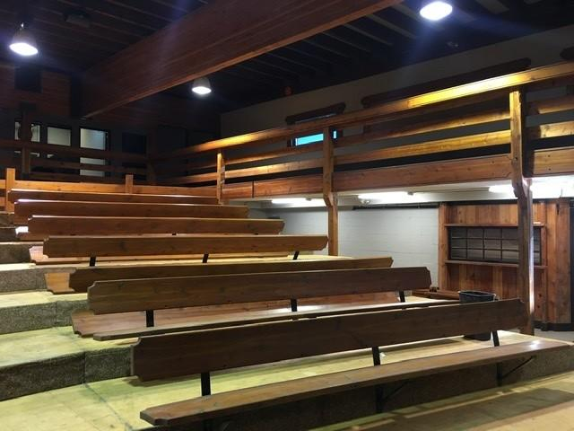 Lot of Wooden Auditorium Style Bench Seating, Approx. 12' Lengths