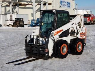 2014 Bobcat S650Skid Steer Special Edition c/w Aux Hyd, Cab, 12x16.5 Tires, Shocker Pass (Positive Air Shut Off System) Showing 500 HRS. S/N S1ML11660 *NOTE: No Attachments*