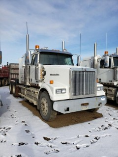 2016 Western Star 4900SE, S/N 5KVVAED17GPGW2862, 375401  KMS, 8623 Hours,DD15 Engine, 18 Speed, Double Diff Lock, 46in Sleeper, Wheel Base 236, Tires 11R24.5 Fronts at 70 Percent, Front Axles 13300,  Rears at 80 percent Rear Axles 46000, Air Ride Suspension, c/w TK Tripac Evolution, Omnitracs GPS, Posi Air, Tire Chains and Eberspauches Heater *Glass Damaged*
