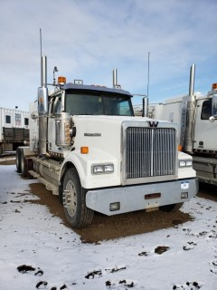 2016 Western Star 4900SE, S/N 5KVVAED18GPS2516,  8261 Hours, DD15 Engine, 18 Speed, Double Diff Lock, 46in Sleeper, Wheel Base 236, Tires 11R24.5 Fronts at 70 Percent, Front Axles 13300,  Rears at 70 percent Rear Axles 46000, Air Ride Suspension, c/w TK Tripac Evolution, Omnitracs GPS, Posi Air, Tire Chains and Eberspauches Heater. *Note Odometer shows 0, Dash Shows 399103*