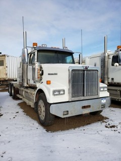 2016 Western Star 4900SE, S/N 5KVVAED14GPGS2514,  Shows 5 KMS, Shows 11 Hours,DD15 Engine, 18 Speed, Double Diff Lock, 46in Sleeper, Wheel Base 236, Tires 11R24.5 Fronts at 70 Percent, Front Axles 13300,  Rears at 60 percent Rear Axles 46000, Air Ride Suspension, c/w TK Tripac Evolution, Omnitracs GPS, Posi Air, Tire Chains and Eberspauches Heater