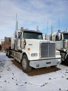 2016 Western Star 4900SE, S/N 5KVVAED10GPGW3268,  314871 KMS, 7788 Hours, DD15 Engine, 18 Speed, Double Diff Lock, 46in Sleeper, Wheel Base 236, Tires 11R24.5 Fronts at 70 Percent, Front Axles 13300,  Rears at 80 percent Rear Axles 46000, Air Ride Suspension, c/w TK Tripac Evolution, Omnitracs GPS, Posi Air, Tire Chains and Eberspauches Heater, *Glass Damaged*
