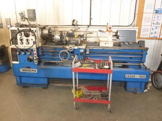 "Modern Tool  C6246X1600 220V 3-Phase Lathe C/w 82"" Bed And  Cart w/ Lathe Accessories. SN 0161343"
