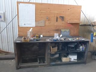 8Ft Metal Work Bench C/w Bottom Contents Only *Note: Contents On Top Not Included*