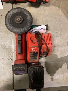 Milwaukee Cordless Grinder C/w Charger And (3) Batteries