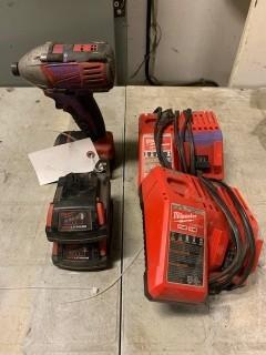 Mikwaukee Cordless Drill C/w (2) Chargers And (2) Batteries