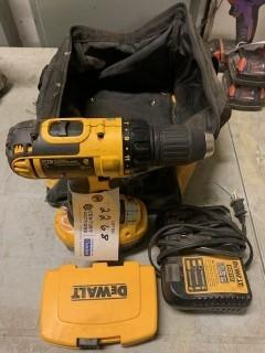 Dewalt 18V Cordless Drill C/w Charger, Battery And Bits