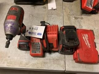 Milwaukee Cordless Drill C/w (3) Batteries And Bits
