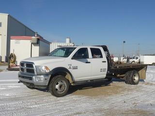 "Unit 114: 2014 Dodge Ram 4500 H/D 4X4 Dually Crew Cab Flat Deck C/w 6.7L Diesel, A/T, 11'6"" Deck w/ Flipover 5th. CVIP 2/2020, Showing 70,879kms. VIN 3C7WRLFLXEG222974"