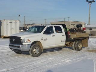 "Unit 120: 2014 Dodge Ram 3500 H/D 4X4 Dually Crew Cab Flat Deck C/w 6.4L, A/T, 9'6"" Deck w/ Flipover 5th. CVIP 3/2020, Showing 58,534kms. VIN 3C7WRTCJXEG317974"