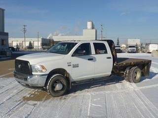 "Unit 117: 2014 Dodge Ram 3500 H/D 4X4 Dually Crew Cab Flat Deck C/w 6.4L, A/T, 9'6"" Deck w/ Ball Hitch. Showing 66,654kms. VIN 3C7WRTCJ8EG257015"