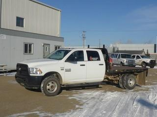 "Unit 113: 2014 Dodge Ram 3500 H/D 4X4 Dually Crew Cab Flat Deck C/w 6.4L, A/T, 9'6"" Deck w/ Ball Hitch. Showing 66,880kms. VIN 3C7WRTCJ7EG157617"