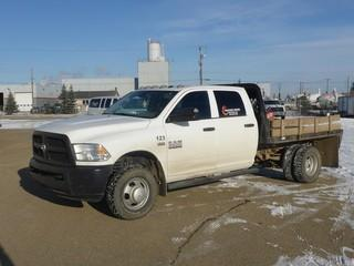 "Unit 123: 2014 Dodge Ram 3500 H/D 4X4 Dually Crew Cab Flat Deck C/w 6.4L, A/T, 9'6"" Deck w/ Ball Hitch. Showing 68,415kms. VIN 3C7WRTCJ1EG317975"