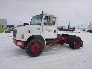 """Unit 122: 1999 Frieghtliner FL80 S/A Truck Tractor C/w Cummins 6-Cyl, 9Spd, 12,000lb Frt, 22,000lb Rears, 152"""" w/b. Showing 440,909kms. VIN 1FUWJLBB0XHA58012"""