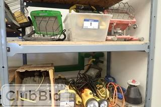 Lot of Asst. Halogen Lights, Shop Lights and Flash Lights.