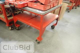 Approx. 3'x3' Mobile Metal Shop Table.
