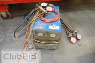 National Refrigeration Products ULVI Refrigerant Recovery Unit w/ Testing and Charging Manifolds and Gauges.