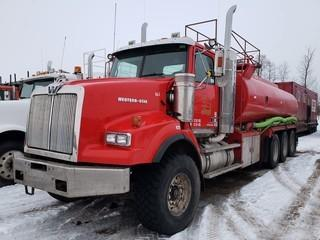 2006 Western Star Conventional Tank Truck Tri Axle 22,000L Capacity, c/w Advance Dry Line Pump Hoses, Detroit Diesel 500 HP, Eaton 18 Speed, ?05714 KMS, 42,536 HRS. VIN # 5KKPALCK86PV00223 *NOTE: Unable To Read First Digit Of Odometer*