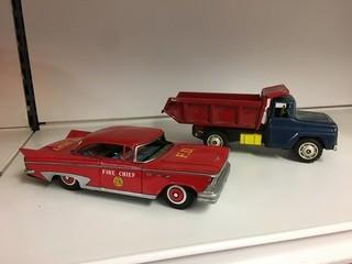 Lot of (1) Fire Chief Car & (1) Dump Truck.