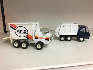 Lot of (1) Tonka Garbage Truck & (1) Clover Toys Milk Truck.
