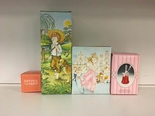 Lot of (4) Avon Perfume Bottles & Cream Sachet.