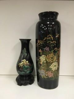 Lot of (2) Black Vases.